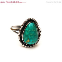 Sterling Green Turquoise Ring size 8