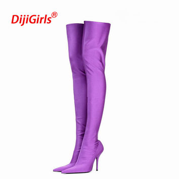 Plus Size 35-43 Fashion Over The Knee High Boots Female High Heels Boots Pointed Thin Stretch Boots Chaussures Femme Zapatos