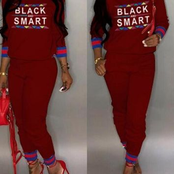 """New Burgundy Monogram """"BLACK AND SMART"""" Print Pockets Two Piece Long Sleeve Casual Long Jumpsuit"""