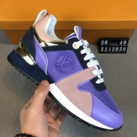 LV Louis Vuitton 2019 new tide brand female models invisible increase round head sports shoes low shoes Purple+pink