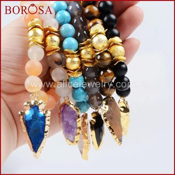 BOROSA Exclusive Gold Color Roungh Multi-Kind Stones & Quartz Arrowhead Bracelet with 10mm Stones Beads G751