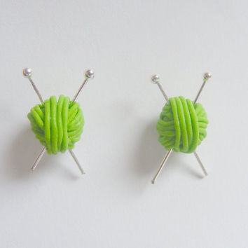 Knitting Needles and Wool Miniature Multi Colors Stud Earrings- Miniature Food Jewelry Mothers Day
