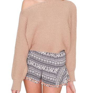 Aisie Sweater Crop Top - Taupe