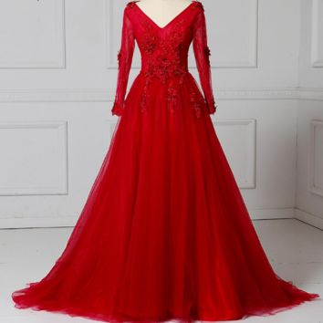 Evening Dresses Long Sleeves Beading Sexy Bride Banquet Elegant Floor-length Party Prom Dress