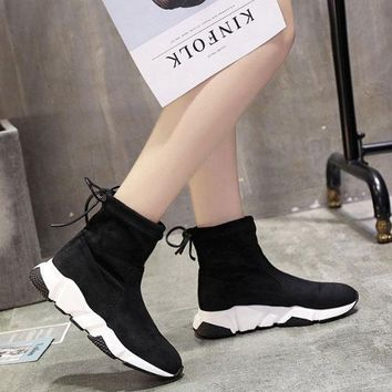 Balenciaga Speed HIGH Scrub Ankle Boots Sport Shoes Black White Color