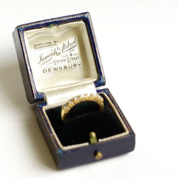 Antique Ring Box - Vintage Jewelry Presentation Case - Art Deco Engagement - Sapphire Blue