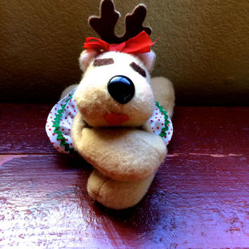 Vintage Christmas Rhonda Reindeer Hallmark 1984 Collectible Stuffed Beanie Toy