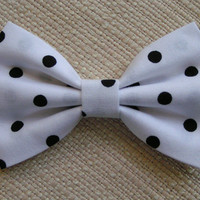 HAIR BOW-black polka dots,BOWS- for girls, cute hair bows out of cotton fabric, bows for weddings