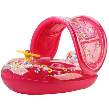 Portable Kids Children Baby Infant PVC Float Seat Boat Swim Water Boat Inflatable Adjustable Sunshade Float Toy Swimming Rings