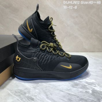 HCXX N698 Nike Zoom KD11 Mid XI Men Actual Baketball Shoes Black Gold