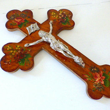Vintage Wall  Crucifix Hand Painted