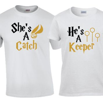 She's A Catch He's A Keeper his and hers Matching Couples Shirt Set