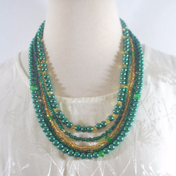Four Strands Green and Gold Glass Pearls Necklace