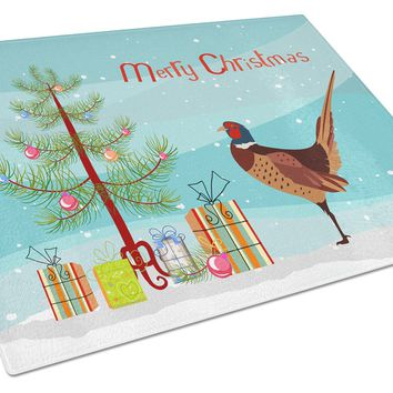Ring-necked Common Pheasant Christmas Glass Cutting Board Large BB9297LCB