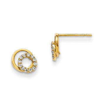 14kt Yellow Gold Double Circlet with CZ Accents Girls Earrings