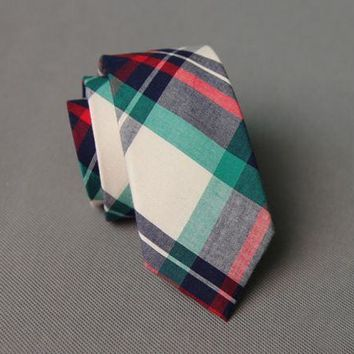 Plaid Red Green and White Striped Skinny Necktie