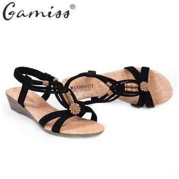 Gamiss Summer Vintage Women Sandals Gladiator Wedge Woman Shoes Beach Flip Flops Bohem