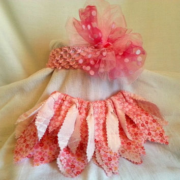 Newborn shabby chic tutu skirt and headband set - newborn photo prop girl - baby shower gift girl - pink newborn tutu coming home outfit -