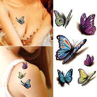 5PCS Decal Waterproof Temporary Tattoo Sticker Colorful Butterfly Fake TattoosHU