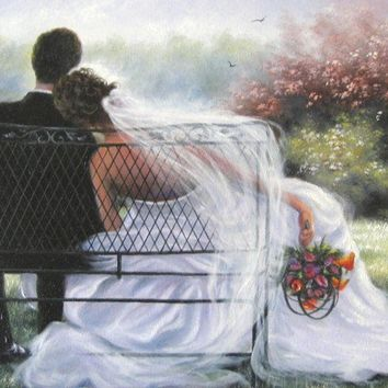 Forever Love Art Print, bride and groom, wedding couple, art, marriage, paintings, prints, Vickie Wade art