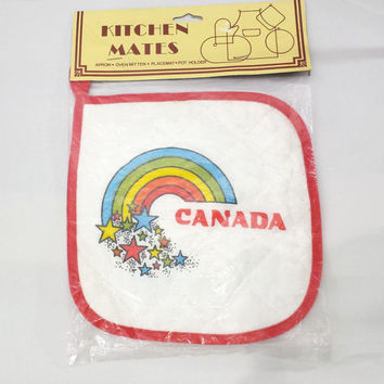 Vintage Canada Souvenir Potholder Hot Pad, Retro Rainbow Kitchen Accessories, 70s 80s Kitschy Kitchen Decor, Canadian Collectibles and Gifts