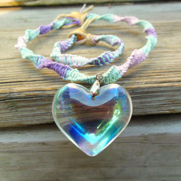 Crystal Glass Heart Pendant Macrame Pastel Hemp Necklace Choker Set With Bracelet