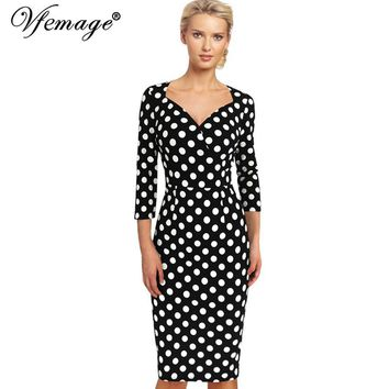 Vfemage Womens Elegant Vintage Polka Dot Rockabilly Tunic Slim Wear to Work Office Casual Party Fitted Bodycon Dress 3945