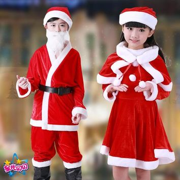 Christmas children's clothing boys and girls perform golden velvet Santa clothes children's Santa clothes