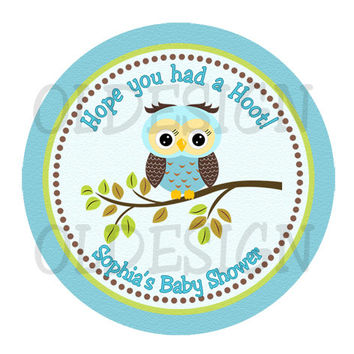 Boy Owl baby shower sticker Cupcake Topper, Tags,Digital file. BABY SHOWER BIRTHDAY