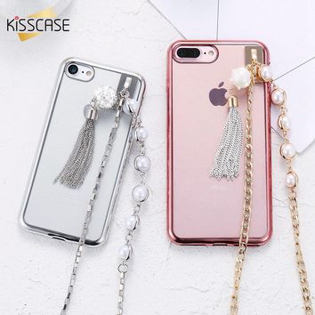KISSCASE Phone Cases For iPhone 6 6S 7 8 Plus Cover Electroplated Pearl Hanging Chain TPU Phone Shell For iPhone 6 6S 7 8 Plus