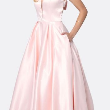 Long Prom Dress Cut-Out Back with Bow Blush