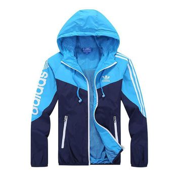 "Fashion ""adidas"" Hooded Zipper Cardigan Sweatshirt Jacket Coat Windbreaker Sportswear"