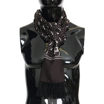 Dolce & Gabbana Brown Silk Instrument Fringes Scarf
