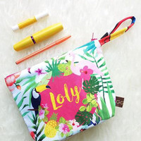 Beach Wedding Party / Tropical Wedding / Personalized Clutch - Pouch - makeup bag / tropical design gift/ Hawaii wedding / Bali wedding