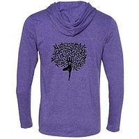 Yoga Clothing for You Mens Tree Pose Hooded Tee Shirt - Mid Back Print