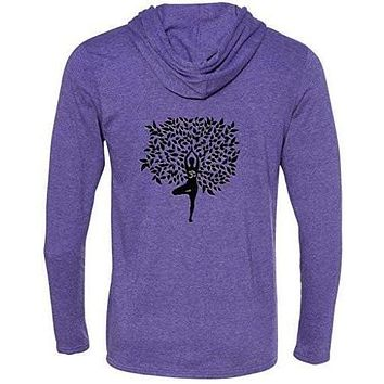 Mens Tree Pose Hooded Tee Shirt - Mid Back Print