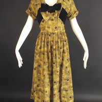 1940s Yellow & Black Silk Crepe Dress, Bust-38
