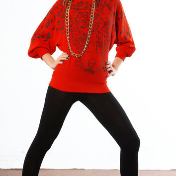 80s vintage red kimono sleeve leopard oversized sweater new age hip hop small cheetah