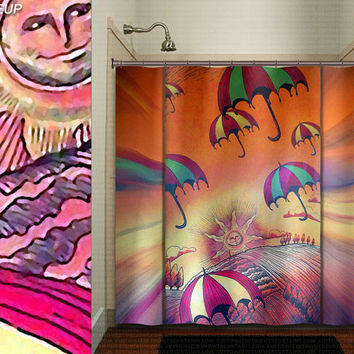 sunshine umbrella sun landscape whimsical shower curtain kids bathroom decor bath fabric window curtains panel bathmat rug towel extra long