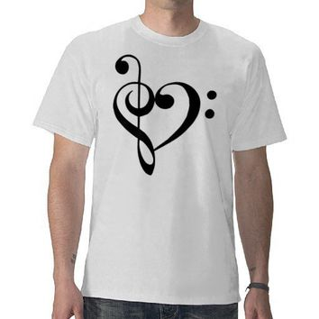 Treble and Bass Clefs Heart (black) T-Shirt from Zazzle.com