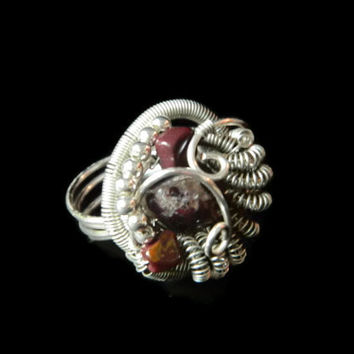 Heady wire wrapped ring size 8 red garnet jasper silver gemstone