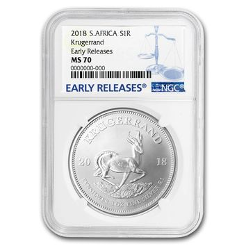 2018 South Africa 1 oz Silver Krugerrand MS-70 NGC (Early Releases)