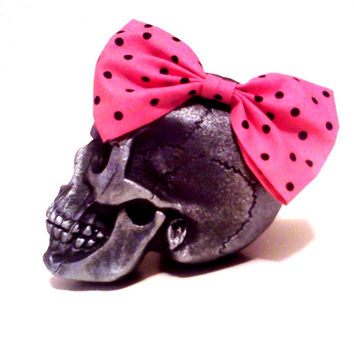 Pink Hair Bow, Polka Dot Hair Bow, Pin Up Hair, Kawaii Hair Bow, Lolita Bow, Rockabilly Hair, Lolita Accessories, Kawaii Accessories