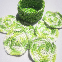 Cotton Facial Cloths Exfoliating Cloths Make Up Removers Facial Scrubbie with BasketGreen and White Crochet 100 Percent Cotton