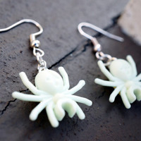Glow-in-the-Dark White SPIDER Dangly EARRINGS - Just in Time for Halloween - Spooky Gift to Wear to Parties - Made from Authentic LEGO®