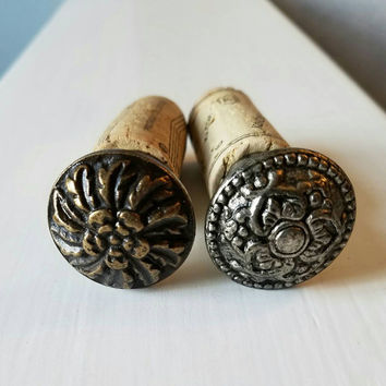 Floral Metal Wine Corks - Bronze and Silver Metal Wine Corks - Map Wine Bottle Stopper