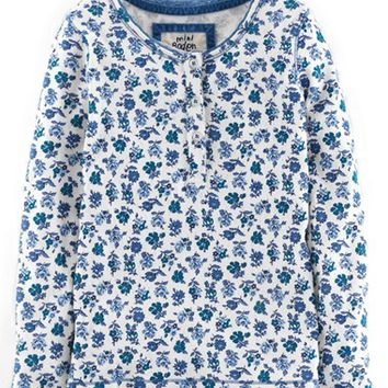 Girl's Mini Boden Pointelle Henley,
