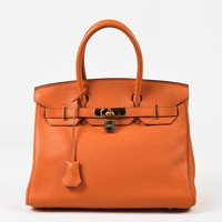"Hermes Orange Grained Clemence Leather ""Birkin 30"" Satchel Bag"