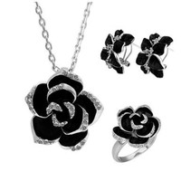 Gold Plated Swarovski Elements Crystal Jewelry Sets Black Flower Necklace, Ring, Earrings
