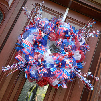 Patriotic Deco Mesh Wreath, 4th of July Wreath, Red White Blue Deco Mesh Wreath, American Flag Wreath, Stars and Stripes Wreath,